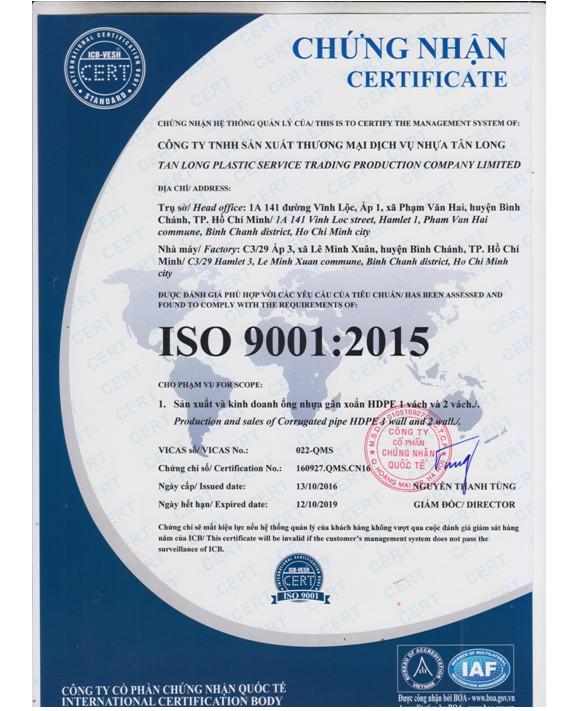 chứng nhận ISO: 9001 : 2015